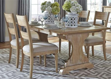 Harbor View Collection 531-DR-5TRS 5-Piece Dining Room Set with Trestle Table and 4 Slat Back Side Chairs in Sand