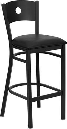 XU-DG-60120-CIR-BAR-BLKV-GG HERCULES Series Black Circle Back Metal Restaurant Bar Stool - Black Vinyl