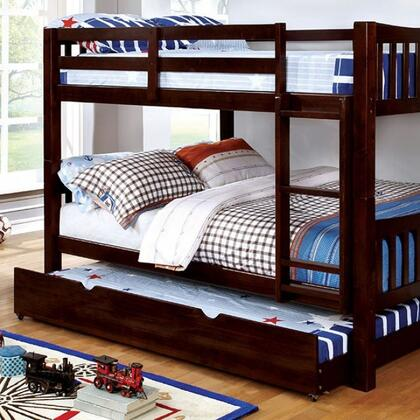 Cameron Collection CM-BK929F-EX-BED+TR Full Size Bunk Bed with Trundle  10 PC Slats Top/Bottom  Front Access Fixed Ladder  Solid Wood and Wood Veneer
