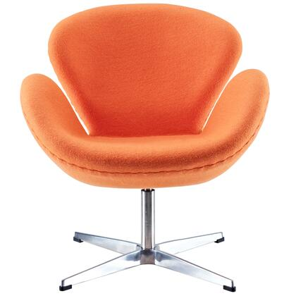 Wing Collection EEI-137-ORA Accent Chair with Aluminum Rotating Base  High Density Foam Cushions  Re-Enforced Fiberglass Frame and Wool Upholstery in Orange