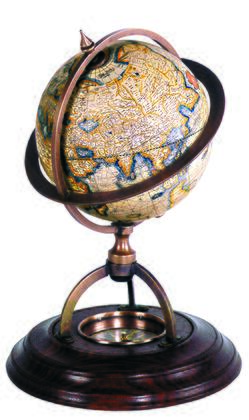 GL019 Terrestrial Globe With Compass with Brass & Wood Material  in Multi-colored & Honey Distressed French