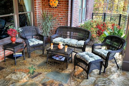 Portside PS6S-DK RST OLTOB 6-Piece Seating Patio Set with Loveseat  Coffee Table  Side Table  2 Chairs and Ottoman in Dark Roast with Oleana Tobacco