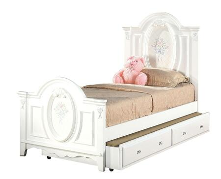 01680TBT Flora 2 PC Set Twin Size Panel Bed + Trundle in White