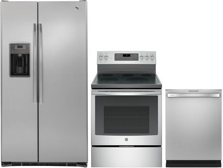 3 Piece Kitchen Package with PFE28PBLTS 36 Side by Side Refrigerator  JB750SJSS 30 Freestanding Electric Range and GDT655SSJSS 24 Built-in
