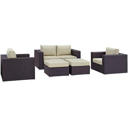 Convene Collection EEI-2158-EXP-BEI-SET 5-Piece Outdoor Patio Sofa Set with Loveseat  2 Armchairs and 2 Ottomans in