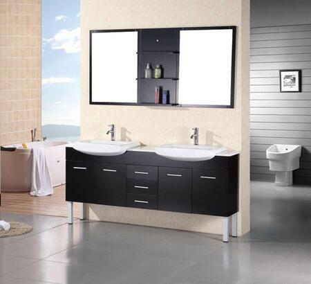 DEC078B Belini 72 inch  Double Sink Vanity Set in