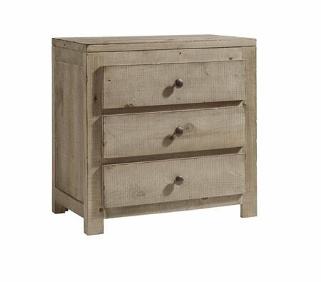 Wheaton B623-43 Nightstand with 3 Drawers  Simple Pulls and MDF Construction in Natural