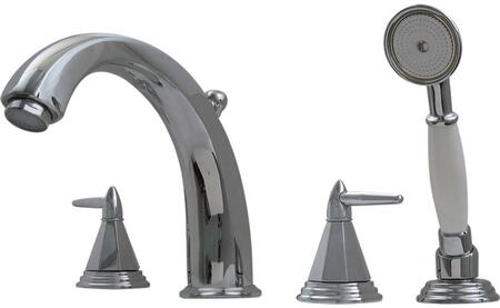 514453TFP Blairhaus Monroe deck mount tub filler set with smooth lined arcing spout  octagon-shaped lever handles  beveled escutcheons  hand held shower with
