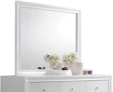 Naima Collection 25774 47 inch  x 36 inch  Mirror with Rectangle Shape  Engineered Wood  Rubberwood and Chipboard Materials in White