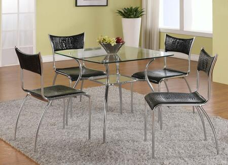 DAISY-5PC DAISY DINING 5 Piece Set - Clear Square Glass Dining Table with 4 Black Slim Upholstered Back Side