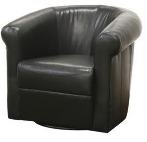 A-282 Julian Series Black Brown Faux Leather Club Chair with 360 Degree