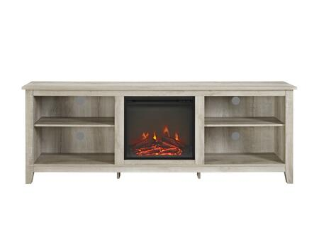 W70FP18WO 70 inch  Wood Media TV Stand Console with Fireplace in White