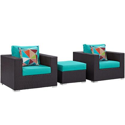 Convene Collection EEI-2363-EXP-TRQ-SET 3-Piece Outdoor Patio Sofa Set with Ottoman and 2 Armchairs in Espresso and