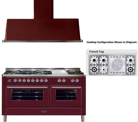 "2-Piece Burgundy Kitchen Package with UMT150SDMPRB 60"""" Freestanding Dual Fuel Range (6 Burners  French Cooktop  2 Convection Ovens) and UAM150RB 60"""" Wall Mount"" 721705"
