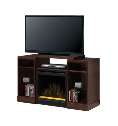 GDS20-1363E Dylan Fireplace Media Console  with Realistic Flame Technology  Optional Heat Emission  Cool Glass Front  and Remote Control  in