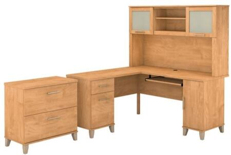 Somerset WC81430K-31-80 2-Piece Desk and Hutch Set with Lateral File Cabinet in Maple