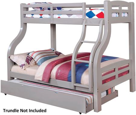 Solpine Collection CM-BK618GY-BED Twin Over Size Bunk Bed with Curved Wood Design  Attached Ladder  14 PC Slats Top/Bottom  Solid Wood and Wood Veneers