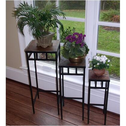 601623 Stone Collection 3 Piece Slate Square Plant Stands with Slate