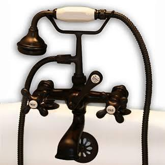 CAM463-2-ORB Clawfoot Tub Deck Mount Brass Faucet with Hand Held Shower - Oil Rubbed