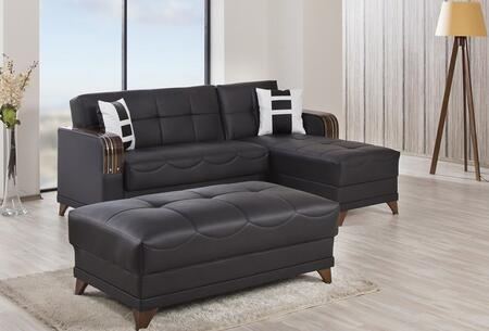 ALMSECZBLK Almira Sectional Sleeper Sofa with Matching Pillows  Tufted Detailing  Tapered Legs and Upholstered in Zen Black