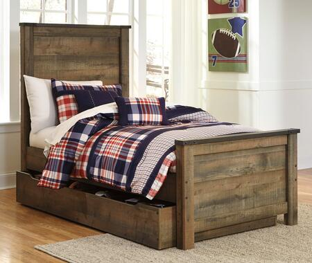 Trinell B446-53/52/83/60/B100-11 Twin Size Panel Bed with Trundle Storage  Metal Bracket Accents  Plank Detailing and Replicated Oak Grain in