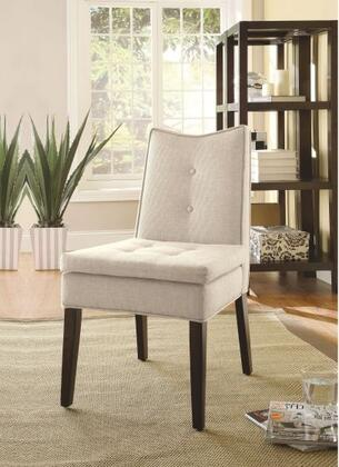 Galen Collection 59158 Set of 2 26 inch  Accent Chairs with Wooden Espresso Tapered Legs  Button Tufted Cushions and Linen Fabric Upholstery in Beige