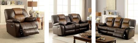 Pollux Collection CM6864-SLR 3-Piece Living Room Set with Motion Sofa  Motion Loveseat and Recliner in Dark Brown and Light