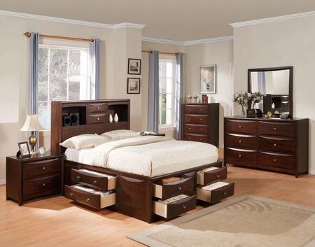 Manhattan 04070Q6PC Bedroom Set with Queen Size Bed + Dresser + Mirror + Chest + 2 Nightstands in Espresso