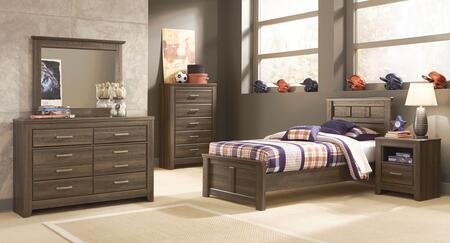 Juararo Twin Bedroom Set With Panel Bed  Dresser And Mirror In Aged