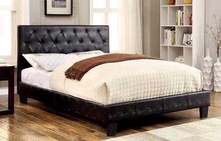 Kodell Collection CM7795BK-Q-BED Queen Size Panel Bed with Button Tufted Headboard  Slat Kit Included  Crocodile Skin Leatherette Upholstery and Solid Wood