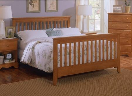 Carolina Oak 237450-982500-79091 63 inch  Queen Sized Bed with 5 Legged Metal Frame and Slat Headboard in Golden