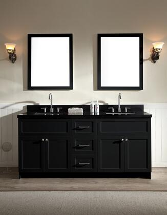 F073dabblk Hamlet 73 Double Sink Vanity Set With Absolute Black Granite Countertop  Four Doors And Three Drawers In