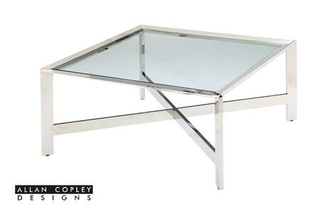 ACD-2101-015-SS Denise Cocktail Table with Clear Tempered Glass Top and Polished Stainless Steel Base by Allan Copley