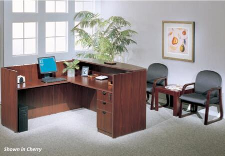 KIT1N169M Reception Desk Complete with Reception Return Reversible Shell  Pedestal Box File  and End Table in Mahogany