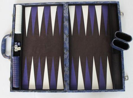 MPYT102DBL 18 inch  Backgammon Set with Instructions  Dice  Playing Cups  and Chips: Metallic Python Dark