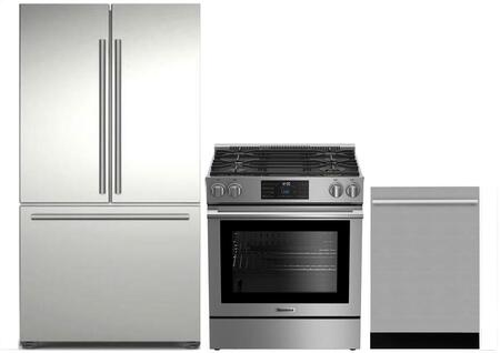 3-Piece Kitchen Package with BRFD2230SS 36 inch  French Door Refrigerator  BGR30420SS 30 inch  Slide In Gas Range  and DWT55300SS 24 inch  Built In Fully Integrated