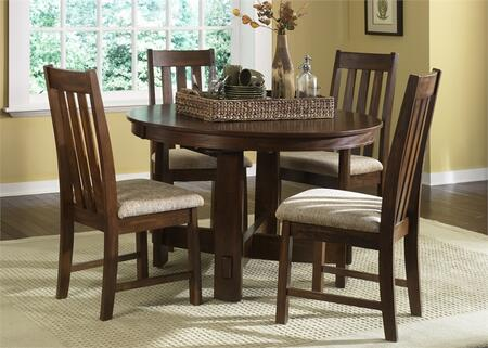 Urban Mission Collection 27-CD-5PCS 5-Piece Dining Room Set with Dining Table and 4 Side Chairs in Dark Mission Oak