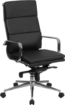 BT-9895H-6-BK-GG High Back Black Leather Executive Swivel Office Chair with Synchro-Tilt