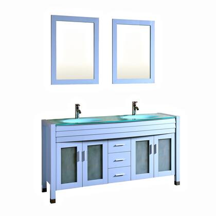 9120-GREY 63 inch  Contemporary Espresso Double Vanity Cabinets Tempered Glass Sink Countertop Solid
