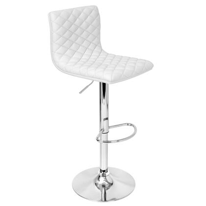 BS-TW-CAV W Caviar Height Adjustable Contemporary Barstool with Swivel in