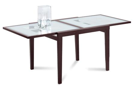 POKER.R.NCA.R01 Poker Rectangular Dining Room Table with Screen Printed Tempered Glass Top  Self Contained Extension and Walnut Beechwood