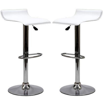 Gloria Collection EEI-937-WHI Set of 2 Bar Stools with 360 Degree Swivel Seat  Chromed Steel Base and Leatherette Seat Upholstery in White