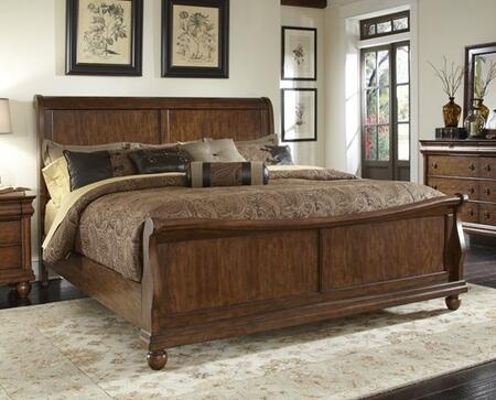 Rustic Traditions Collection 589-BR-KSL King Sleigh Bed with Bun Feet  Classic Louis Philippe Styling and Center Supported Slat System in Rustic Cherry