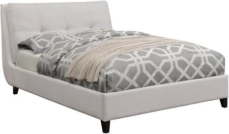Amador Collection 300698Q Queen Size Bed with Fabric Upholstery  Tufted Pillow-Top Headboard  Tapered Legs and Wood Frame Construction in