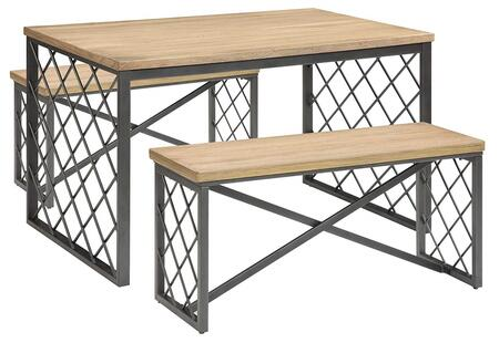 Catalina Collection 71655 3 PC Dining Room Set with Gray Diamond Grid Pattern  Wood Seat   inch X inch  Stand Support  Wood and Metal Construction in Light Oak