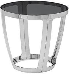 2310202RG Alyssa Round end table with smoked glass and stainless steel