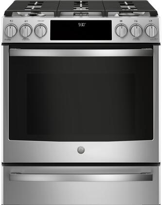 GE Profile P2S930SELSS 30 Smart Slide-in Dual Fuel Range with Sealed Burner Cooktop, 4.5 cu. ft. Primary Oven Capacity in Stainless Steel