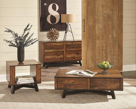 Occasional Groups Collection 705638SET 3 PC Living Room Table Set with Coffee Table + End Table + Sofa Table in Tobacco and Black Sand Off