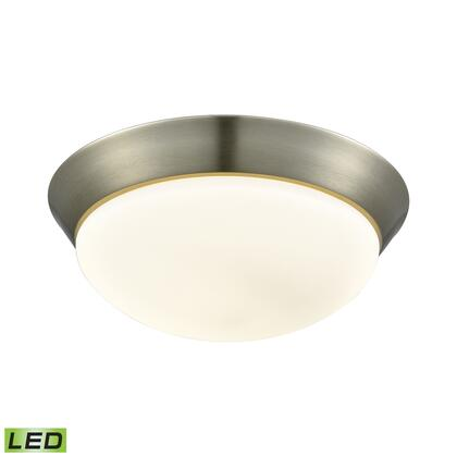FML7175-10-16M Contours 1 Light LED Flushmount In Satin Nickel And Opal Glass -