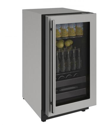U-Line U2218BEVS00A 2000 Series 18 Inch 3.4 cu. ft. Capacity Built In Compact Beverage Center with Reversible Door, in Stainless Steel